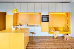 Elegant Home Interior bright yellow kitchen.Elegant Home Interior bright yellow kitchen Yellow Storage, Built In Wall Units, Multipurpose Furniture, Yellow Interior, Kitchen Nook, Long Kitchen, Kitchen Seating, Kitchen Decor, Cuisines Design