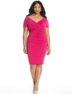 Designed to wow from the inside out, our elegant portrait-neck dress is a favorite for its flattering details and built-in Control Tech support for instant slimming. Built-in panels smooth and contour curves from high waist through the hip with a non-slip liner for a confident fit. A sophisticated pick for any occasion, it features a draping bodice, short sleeves and shirred sides. Hidden side zipper closure. lanebryant.com