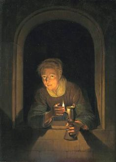 Gerrit Dou (Dutch Baroque Era Painter, 1613-1675). He was the first Rembrandt's student for tree years when he was 15 years old. Young Woman Holding a Lamp, c. 1660 - 1670.