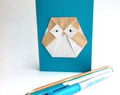 Owl! Origami, Owl, Etsy, Plush, Cards, Paper, Owls, Paper Folding