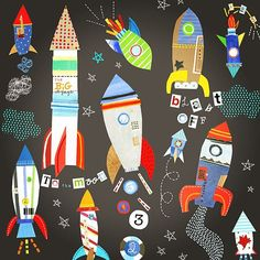 jill mcdonald rocket ships- cuz this is cool too Space Party, Space Theme, Jill Mcdonald, Art For Kids, Crafts For Kids, Kids Prints, Whimsical Art, Show And Tell, Art Plastique