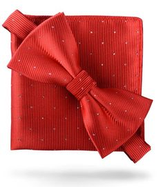 Crimson Red  Glitter Dots  - Bow Tie and Pocket Square Matching Set c066d375d