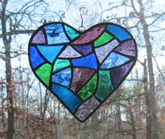 Stained Glass Abstract  Heart in Blues by CartersStainedGlass, $25.00