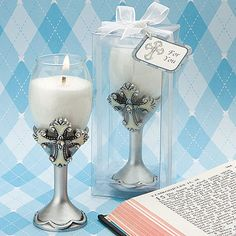 Inspirational and divine, these cross design champagne flute candle holders are toast-worthy favors with elegant style Inspired by the need for Christian-themed favors with flair, Fashioncraft proudly offers these unique candle holders. Elegantly crafted in the shape of a champagne flute and reverently decorated with a beautiful classic cross, each favor is truly a masterpiece fit for a blessing-filled big day! Description and details:  Candle holder has a dramatic and unique champagne…