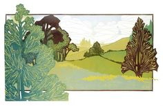 Buckinghamshire Hills - gorgeous linocut, hand-produced by Laura Boswell