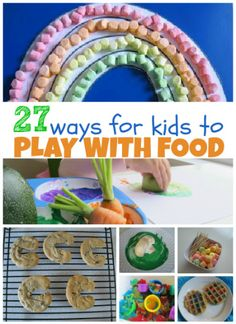 27 ways for kids to play and have fun learning with food. All of these crafts, and activities let kids play with food while they learn. Craft Activities For Kids, Toddler Activities, Projects For Kids, 4 Kids, Diy For Kids, Crafts For Kids, Food Kids, Toddler Crafts, Children