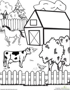 It's a farmer's life in this farm coloring page, which features a cow and other farm animals.