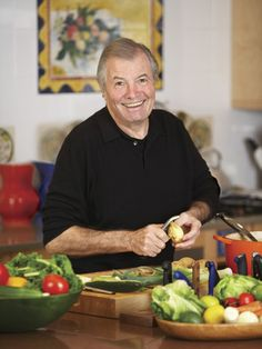 """Jacques Pepin - From humble beginnings, he became a chef to French Presidents, then came to America and instead of taking a job offer at the White House, decided to take a job with Howard Johnson's. In so doing, he is responsible for inventing the techniques that allow recipes to be consistently reproduced in multiple locations (father of the chain restaurant). His recipes are wonderful and his autobiography """"The Apprentice"""" is an entertaining read. His enjoyable cooking shows air on PBS. Jacques Pepin Recipes, Becoming A Chef, Jacque Pepin, Gordon Ramsay, Onion Soup, French Food, Good Food, Cooking, Chefs"""