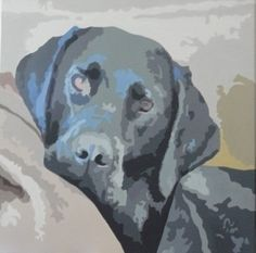 Original Acrylic Painting On Canvas Black Labrador  by:-emily