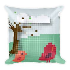 Square Fun Pixel Mix Decorative Occasional Cushion via PixelPallete. Click on the image to see more!