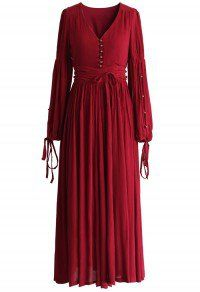 Boundless Romance Maxi Crepe Dress in Wine