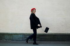 Coat and jeans FilippaK, knit H&M, beret Hatbaren, bag Decadent Copenhagen and shoes &Other Stories