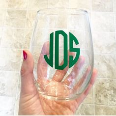 Monogrammed Stemless Wine Glass  Personalized by culleycreations