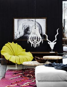 Monochrome with a bright accent chair. amaze. bedroom decor.