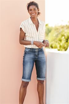 Buy Mid Blue Denim Knee Shorts from the Next UK online shop Knee Length Denim Shorts, Denim Shorts Outfit, Shorts Outfits Women, Summer Shorts Outfits, Short Outfits, Modest Shorts, Bermuda Shorts Outfit, Modest Summer Fashion, Minimal Outfit