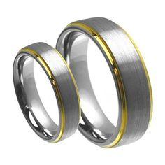(2) Set Men & Women's 8mm/6mm Brushed Center with Gold Step Edge Tungsten Carbide Wedding Band Ring Set tungsten jeweler http://www.amazon.com/dp/B00B7R25SK/ref=cm_sw_r_pi_dp_qZrzwb0WCYKB9