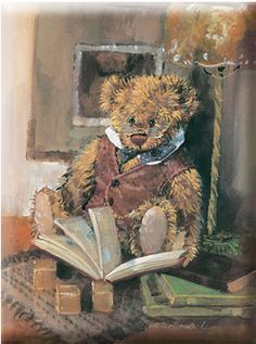 Teddy likes to read! Bear Paintings, Love Bears All Things, Bear Illustration, Bear Pictures, Bear Art, Quites, Tole Painting, Illustrators, Old Things