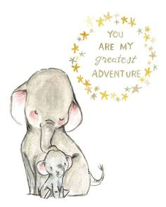 Nursery Art My Greatest Adventure ELEPHANT door trafalgarssquare