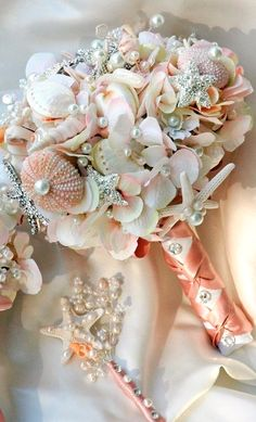Sep 2019 - A wedding on the beach is a unique opportunity to celebrate the big day in a stylish way. We selected some really special DIY beach wedding decoration ideas Beach Wedding Colors, Beach Wedding Decorations, Bridal Brooch Bouquet, Flower Bouquet Wedding, Flower Bouquets, Boquette Wedding, Wedding Coral, Seashell Wedding, Blush Bridal