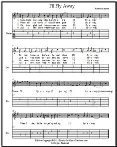 """Hymn """"I'll Fly Away"""" for fiddle & guitar with easy guitar tabs, FREE! Download this energetic hymn for your young students. #easyguitarsongs"""