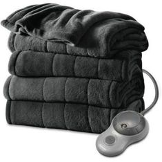 "Perfect Fit Heated Silky Plush Throw Blanket Sand Color 50/"" x 60/"""