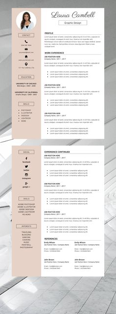 Professional Resume Templates / Simple CV Template by GraphicParadise Creative Cv Template, Modern Resume Template, Best Resume Template, Design Brief Template, Basic Resume, Professional Resume, Resume Cv, Visual Resume, Simple Resume