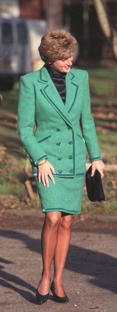 Princess Diana's suit wardrobe, which she often wore for her official duties, became sleeker and more polished in the ' 90s. Description from pinterest.com. I searched for this on bing.com/images