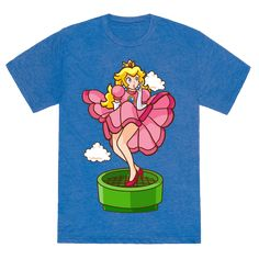 Look out Marilyn Monroe, there's a new bombshell in town! Show off Princess Peach's sultry side with this awesome Plumbers Prefer Blondes tee!