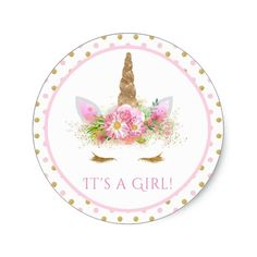 Girls Unicorn Baby Shower Stickers