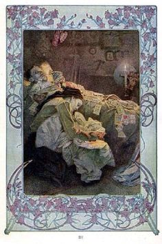 The Beatitudes, with illustrations in color by Alphonse Mucha. Plate 3: Blessed are they that mourn, for they shall be comforted. Published in Everybody's Magazine, Christmas, 1906