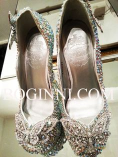 "Butterfly Aurora Borealis AB Crystal peep toe available in 4"" and  6"" high heel shoes by Boginni&Co."