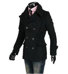 British style Men's Short Double Breasted Coat