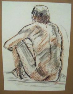 """MALE NUDE"" by Ruth Freeman DRAWN  IN CONTE STICKS FROM LIFE 13 3/4"" X 19"" #Realism"