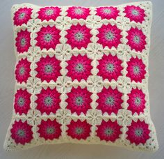 pink flower granny square cushion cover (riavandermeulen) Tags: pink look square circles crochet retro pillow cover granny cushion vintagelook madebyria Crochet Cushion Pattern, Crochet Pillow Cases, Crochet Cushion Cover, Crochet Cushions, Granny Square Crochet Pattern, Crochet Squares, Crochet Motif, Crochet Designs, Crochet Patterns