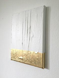 Ich freue mich, den jüngsten Neuzugang in meinem #etsy-Shop vorzustellen: Abstrakte Malerei weiß, Gold G18 #kunst #mischtechnik #weiss #geburtstag #weihnachten #gold #leinwand #acryl #mixedmedia