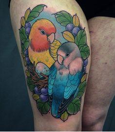 Cute little lovebird tattoo by @goksisdead #lovebirdtattoo #birdtattoo…