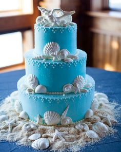 I love this cake id have mini cupcakes all around it as well and beach wedding cake junglespirit Gallery
