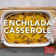 Beef Recipes Enchilada Casserole Recipe Instead of meat >> scrambled vegetables and setitas Easy Casserole Recipes, Casserole Dishes, Easy Dinner Recipes, Easy Meals, Church Potluck Recipes, Mexican Dishes, Mexican Food Recipes, Dip Recipes, Indian Recipes