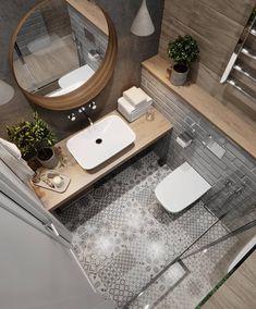 Wooden worktops give the bathroom a charming bathroom and warm the bathroom.- Holzarbeitsplatten verleihen dem Badezimmer ein charmantes Bad und wärmen das D… Wooden worktops give the bathroom a … - Modern Bathroom Tile, Bathroom Design Small, Bathroom Flooring, Bathroom Interior Design, Tiled Bathrooms, Serene Bathroom, Wooden Bathroom, Bath Design, Patterned Tile Bathroom Floor