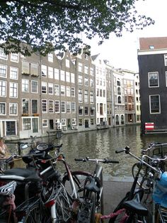 The Canals of Amsterdam with the bikes lining the streets