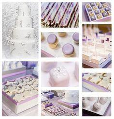 This lavender/white/champagne wedding palette is a great example of a clearly winter-themed affair without feeling cheesy and forced. - this would fit French theme and winter date of shower Mini Desserts, Purple Desserts, Wedding Desserts, Wedding Cakes, Buffets, Bouquet Wrap, Tulle Flowers, Dessert Bars, Dessert Tables