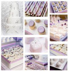 winter wedding dessert buffet featuring Pantone's Rhapsody. Click image for more details.