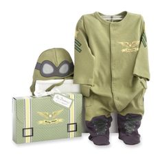 baby clothing | Baby Aspen, Big Dreamzzz Baby Pilot Two-Piece Layette Set, Green, 0-6 Months