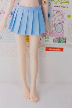 BJD Pleated Skirt - Slim MSD Minifee or SD - Solid Light Blue