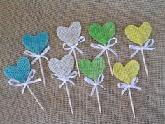 Burlap HEART Cupcake 25 Toppers Picks Cocktail stick  Wedding Party Shabby Rustic Country Party on Etsy, $16.50
