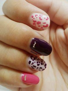 Minimalism Pink and Purple Leopard   chichicho~ nail art addicts