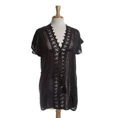 Wholesale black short sleeve top black crochet detail down front drawstring tie