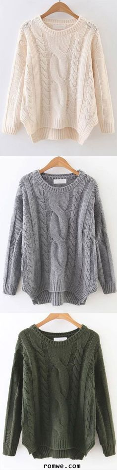 Cable Knit Asymmetrical Hem Sweater