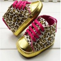 Wish | New Cute Kid Baby Girl Leopard Gold Crib Shoes Walking Sneaker 0-18 monthes