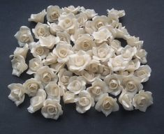 Fimo Clay, Polymer Clay Beads, Handmade Polymer Clay, Clay Flowers, Beaded Flowers, Handmade Beads, Handmade Gifts, White Gardenia, Pearl Color